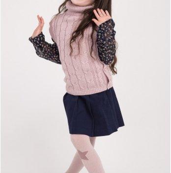 Вязаная жилетка на девочку ТМ Lutik под горло, розовая