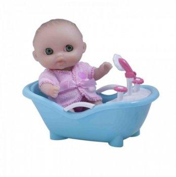 Пупс-малыш с ванночкой JC Toys, 13 см