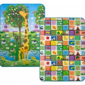 Детский двусторонний коврик Большая жирафа и Красочная азбука Limpopo