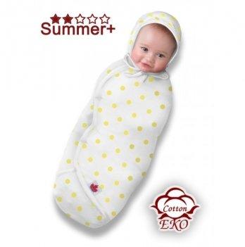 Трикотажная пеленка-кокон на липучке Deep Sleep №3 Summer+ Eco-cotton Ontario Baby белый