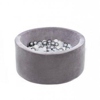 Сухой бассейн Misioo 0001 круглый серый велюр 90х40х6 см