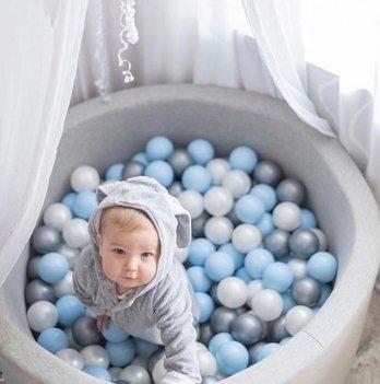 Сухой бассейн Misioo круглый светло-серый