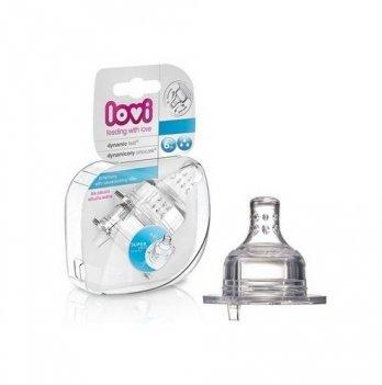 Соска для бутылочки Lovi силиконовая, динамическая, средняя, 2 шт.