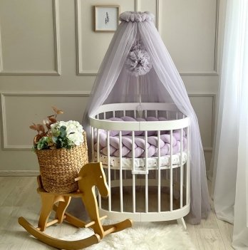Балдахин на кроватку Маленькая Соня с помпонамиФиолетовый 0511542