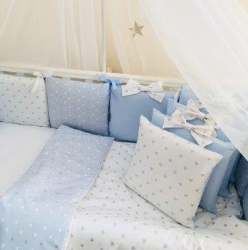 Комплект постельного белья Shine Маленькая Соня 0247213 голубой сердечко 6 предметов