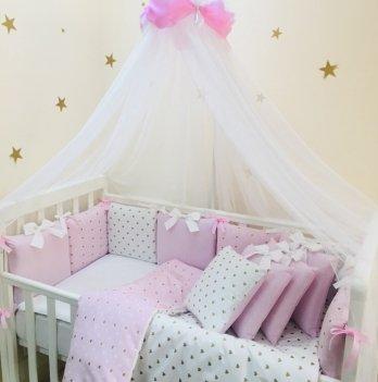Бортик и простынь Shine Маленькая Соня 074707 розовый сердечко