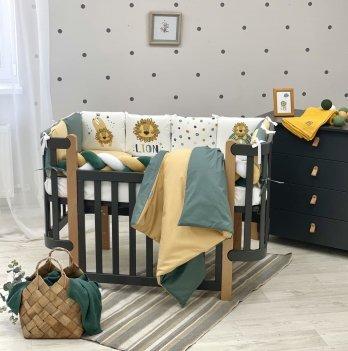 Детское постельное белье и бортики в кроватку Маленькая Соня Art Design Лёва Желтый/Зеленый 0239608