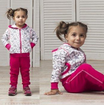 Спортивный костюм для девочки Joiks, от 9 месяцев до 5 лет, малиновый/рисунок