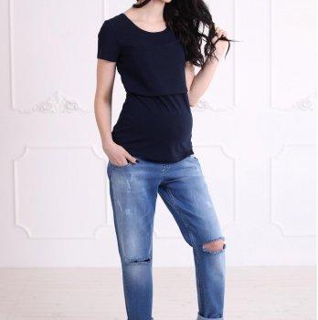 Футболка Simple для беременных и кормящих, ZNANA, синяя