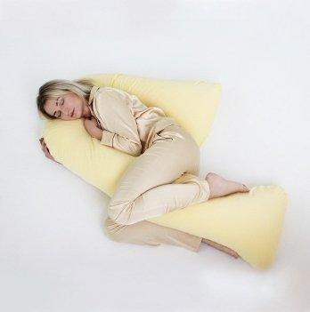 Подушка для беременных модель Сладкий сон Мои Подушки, наволочка трикотаж желтый