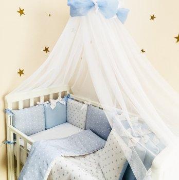 Бортик и простынь Shine Маленькая Соня 074707 голубой сердечко