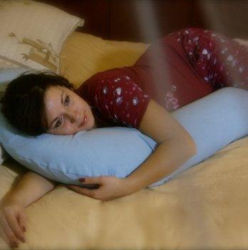 Подушка для беременных модель Г Мои Подушки, наволочка лен голубой