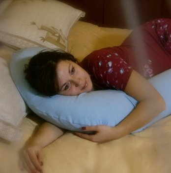 Подушка для беременных Бумеранг Мои Подушки, наволочка трикотаж голубой