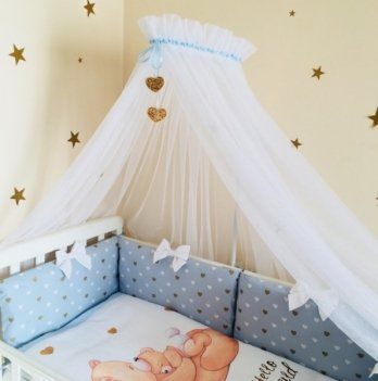 Балдахин для кроватки в комплект Happy Baby, Маленькая Соня, белый с голубой лентой