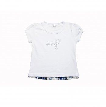 Детская футболка для девочки Danaya 2-6 лет Белый/Синий 035FD-our