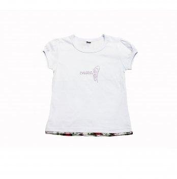 Детская футболка для девочки Danaya 2-6 лет Белый/Розовый 035FD
