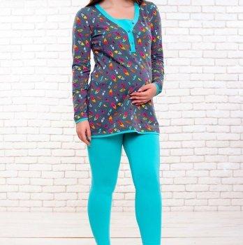 Домашний костюм-пижама ZNANA, SLIM перья/минт