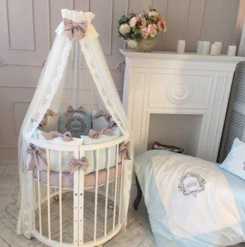 Комплект Маленькая Соня Elegance, овальная кроватка, 7 предметов, голубой