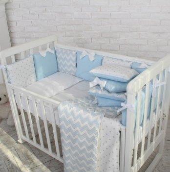 Бортик и простынь Shine Маленькая Соня 074707 голубой зигзаг