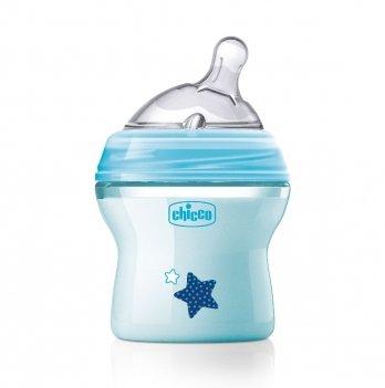 Бутылочка пластиковая Chicco Natural Feeling 0+ соска силикон Голубой 80811.21 150 мл