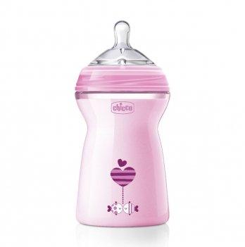 Бутылочка пластиковая Chicco Natural Feeling 6+ соска силикон Розовый 80837.11 330 мл