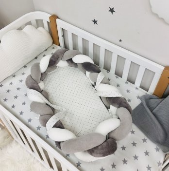 Кокон для новорожденных Маленькая Соня Коса бортик Белый/Серый 9100477