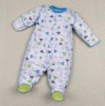 Человечек для новорожденных PaMaYa Белый/Голубой 0-6 мес 1-35-11