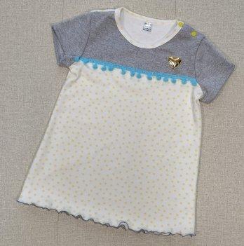 Детское платье с коротким рукавом PaMaYaБелый/Жёлтый 1.5 года-6 лет 9-72