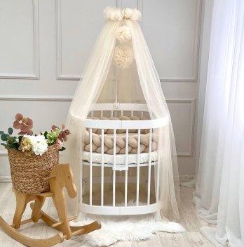 Балдахин на кроватку Маленькая Соня с помпонамиМолочный 05115610
