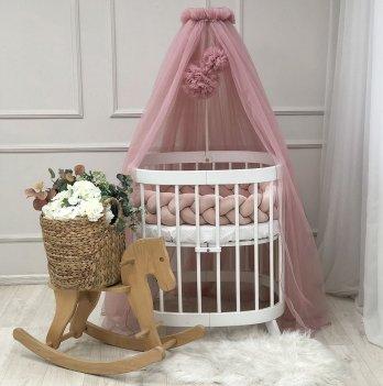 Балдахин на кроватку Маленькая Соня с помпонамиРозовый 0511579