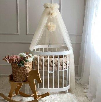 Балдахин на кроватку Маленькая Соня с помпонамиВанильный 05115717