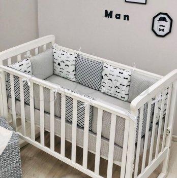 Комплект бортики и простынь Маленькая Соня Baby Design Усы 0720400