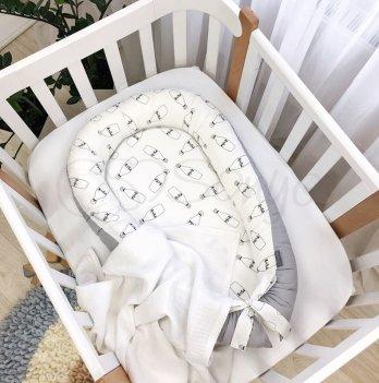 Кокон для новорожденных Маленькая Соня Baby Design Молоко Серый 5019299