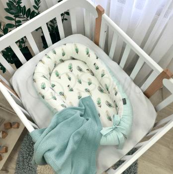 Кокон для новорожденных Маленькая Соня Baby Design Перо мята Мятный 5019405