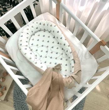 Кокон для новорожденных Маленькая Соня Baby Design Сердечки серо-бежевые Бежевый 5019357