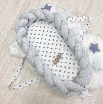 Кокон-бортик Коса Маленькая Соня 910052 Серый