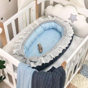 Кокон для новорожденных Маленькая Соня Вязаный Джинс Синий 5085190