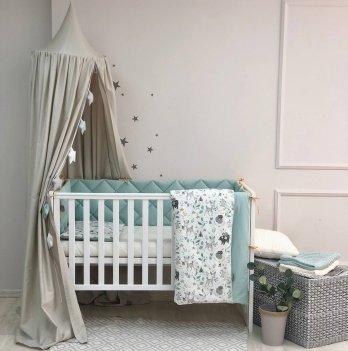 Детское постельное белье и бортики в кроватку Маленькая Соня Baby Mix Bamby с друзьями Желтый/Мятный 0291597