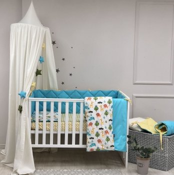 Детское постельное белье и бортики в кроватку Маленькая Соня Baby Mix Сафари Желтый/Голубой 0291543