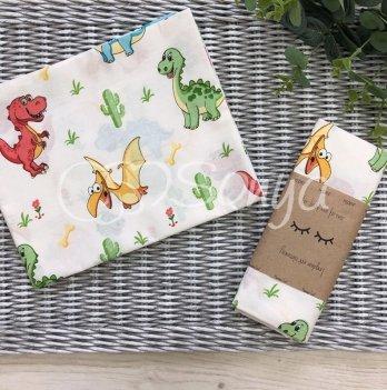 Пеленка для детей бязь Маленькая СоняДино игрушкаБелый/Зеленый4667511