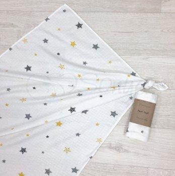 Пеленка муслиновая Маленькая Соня Старс Желтый 4666372 77х100 см
