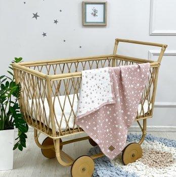 Плед для новорожденных Маленькая Соня Муслин Жатка звезды на пудре Белый/Розовый 87131713