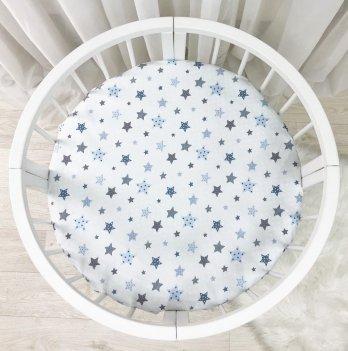 Детская простынь на резинке Маленькая соня Stars Белый/Голубой 9500226