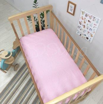 Простынь на резинке Маленькая Соня 1700344 горошек на розовом 60х120х13 см