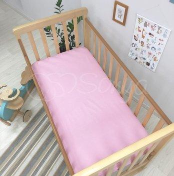 Простынь на резинке Маленькая Соня 1600362 ярко-розовый 60х120х13 см