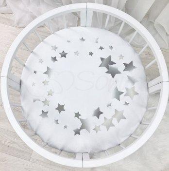 Детская простынь на резинке Маленькая соняС печатью СозвездиеБелый/Серый9580411