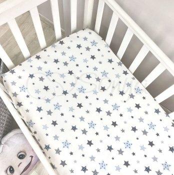 Детская простынь на резинке Маленькая Соня Stars Голубой 120х60 см