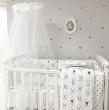 Комплект постельного белья Shine Алиса простынь с юбкой Маленькая Соня 0147334 белый 7 предметов