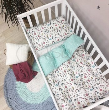 Детское постельное белье в кроватку Маленькая Соня Baby Mix Единорог цветной Белый/Мятный 0319406