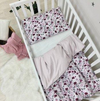 Детское постельное белье в кроватку Маленькая Соня Baby Mix Лила цветы Белый/Розовый 0391601